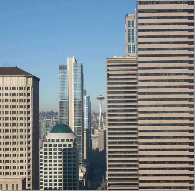 City buildings and the Space Needle between