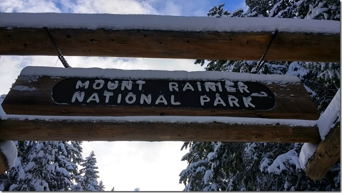 A view up at a wooden sign which says Mt Rainier National park. It's winter and the sign and surrounding trees are covered in snow