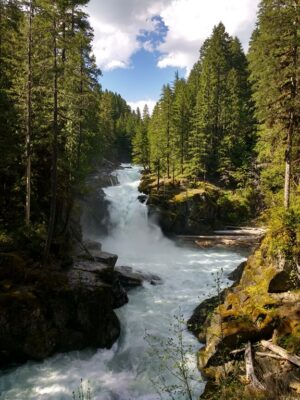 Silver Falls on the east side is a highlight of a Mt Rainier summer day trip