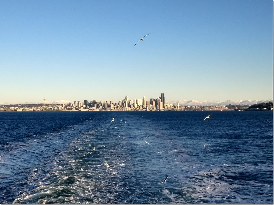 downtown seattle seen from the Bainbridge Island ferry starting an Olympic National park itinerary