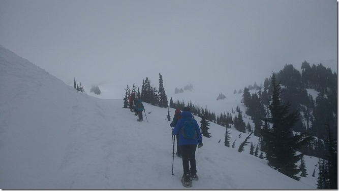 Snowshoeing in the fog at Paradise in Mt Rainier National Park