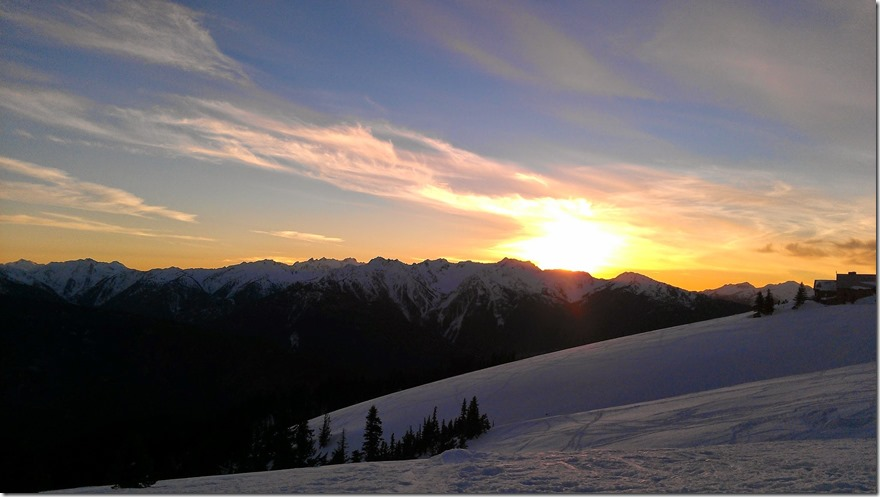 Hurricane Ridge Snowshoeing sunset