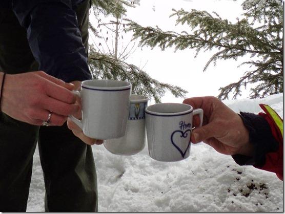winter mugs outside