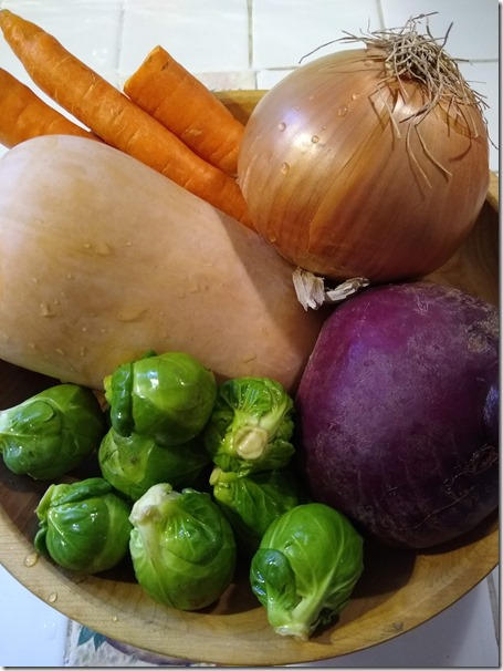 Pacific Northwest roasted vegetables ready for chopping