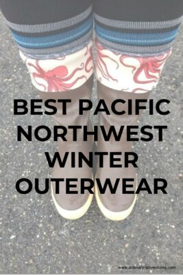 Rubber boots, socks and leggings. Text reads: Best Pacific Northwest Winter Gear