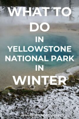 A colorful hot pool surrounded by snow. Text says what to do in Yellowstone National park in winter
