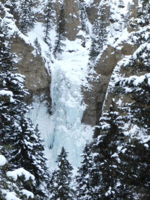 Frozen waterfall covered in snow surrounded by snowy trees