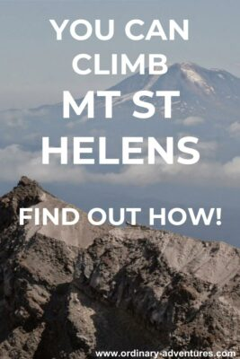 The crater rim on a Mt St Helens climb in the foreground with Mt Adams in the distance. Text reads: You can climb Mt St Helens, find out how