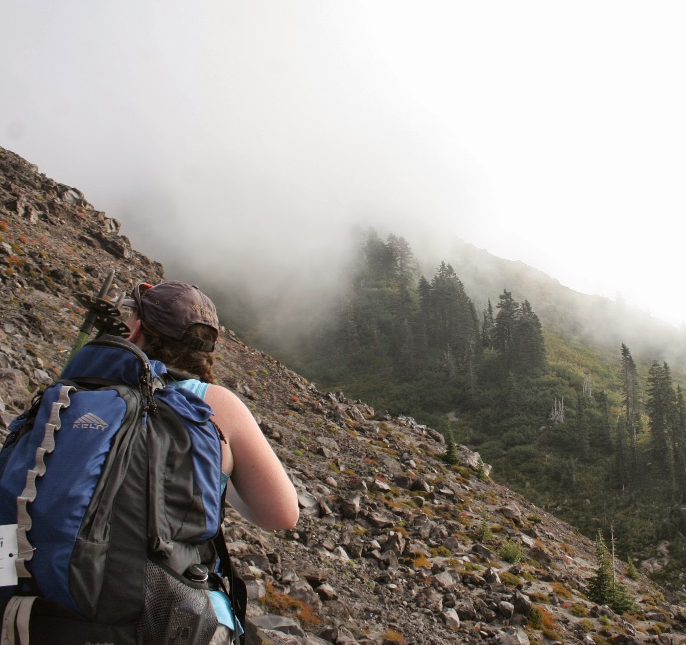 A hiker with a blue backpack looks uphill across a field of rocks with trees in the background and fog
