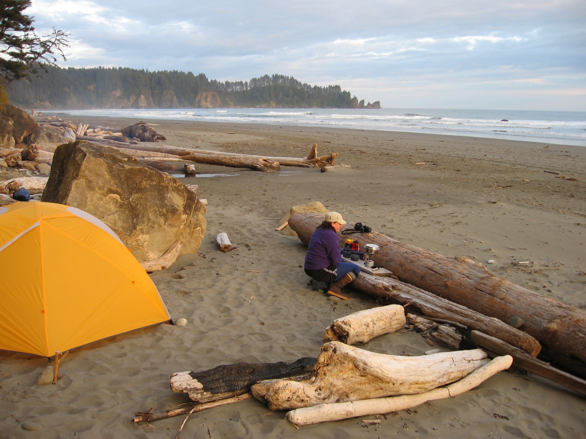 Sandy beach with driftwood surrounded by evergreen trees and ocean. There are clouds in the sky and a yellow tent. A women is using a backpacking stove