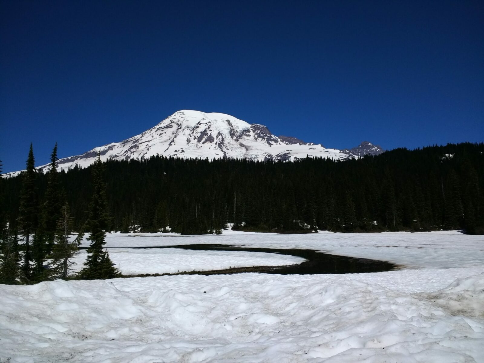 Large snow covered mountain behind a forested hillside. In the foreground there is a partially frozen lake