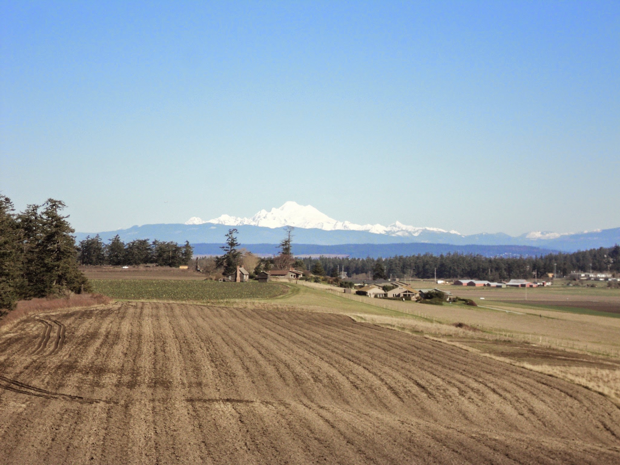 A brown field waiting to be planted in the foreground, with some buildings and a large snow covered mountain in the distance