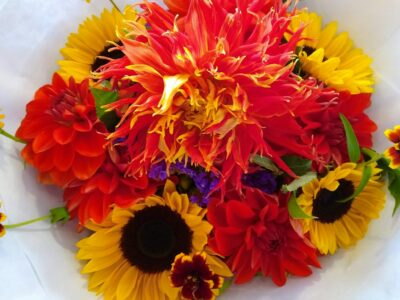 a bouquet of flowers in bright colors and different shapes