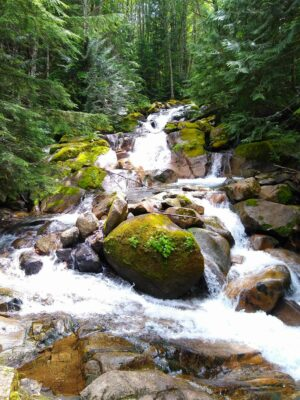 A river cascades among rocks in the forest on the Annette Lake hike