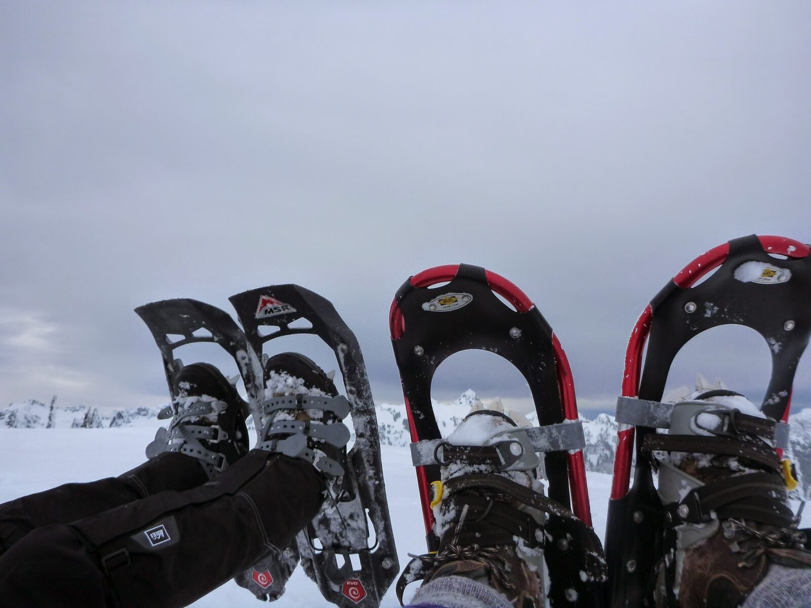 Two sets of feet in snowshoes.