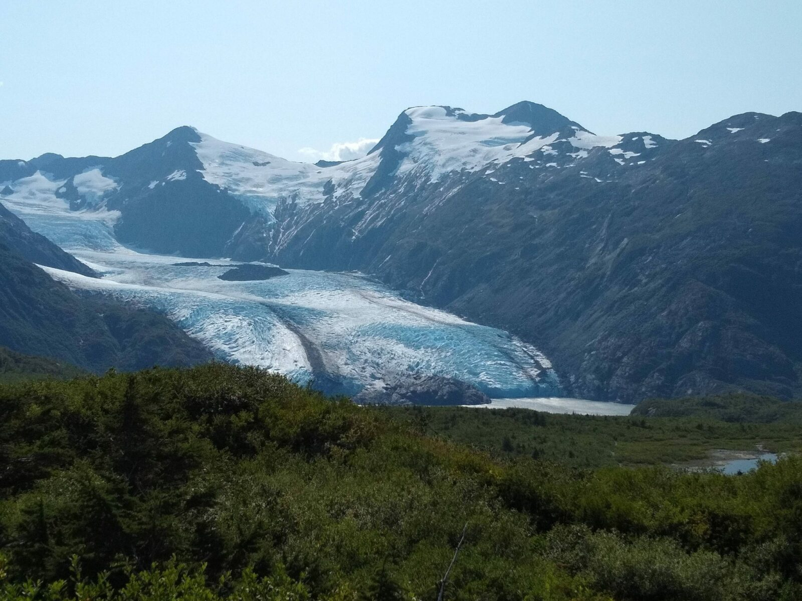 Portage glacier in the middle, meadows in the foreground and mountains in the background against a blue sky