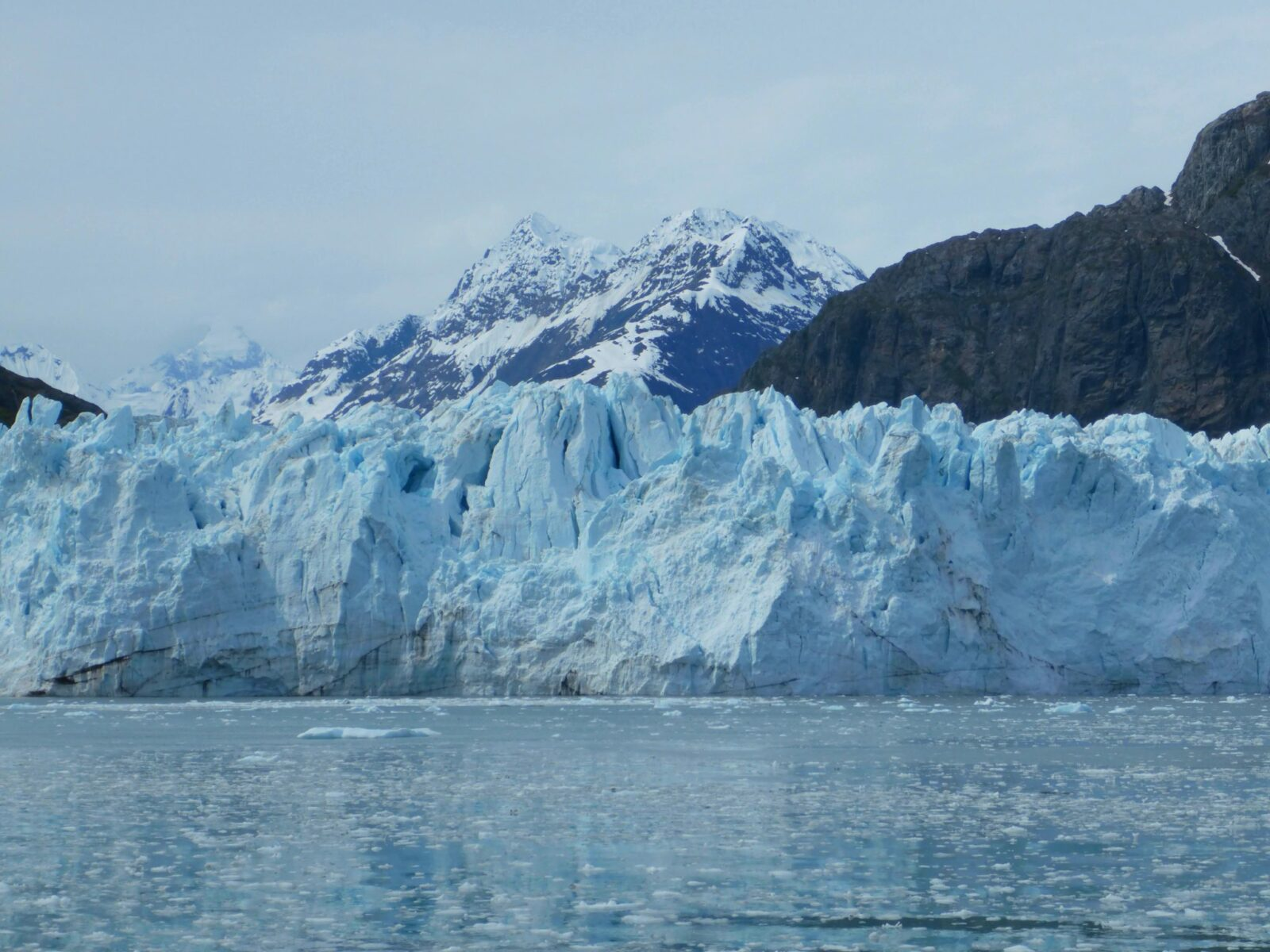 A tidewater glacier at the head of a bay. The glacier is blue and has dark cracks. In front of the glacier are thousands of small icebergs floating in the water. In the background is a high snow capped mountain. Glacier Bay is a highlight of an Alaska itinerary