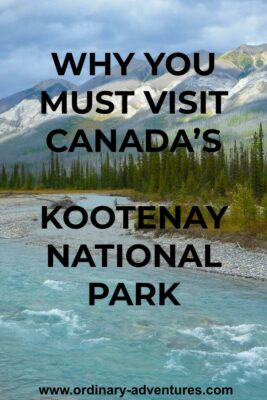 Blue water of the Kootenay River rushes by gravel bars and trees in a valley between high mountains in Kootenay National Park. Text reads: Why you must visit Canada's Kootenay National Park