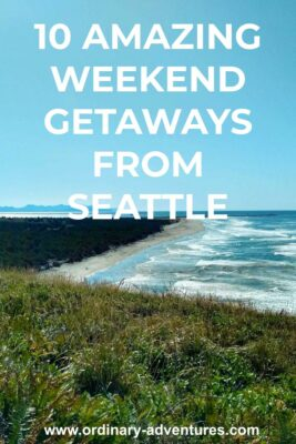 A coastline seen from above on a bluff with waves crashing on a sunny day. Text reads 10 amazing weekend getaways from seattle