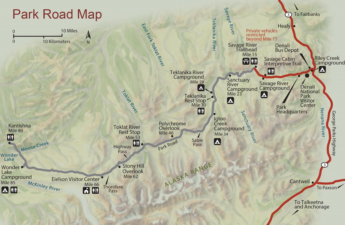 A map of Denali National park roads and campgrounds