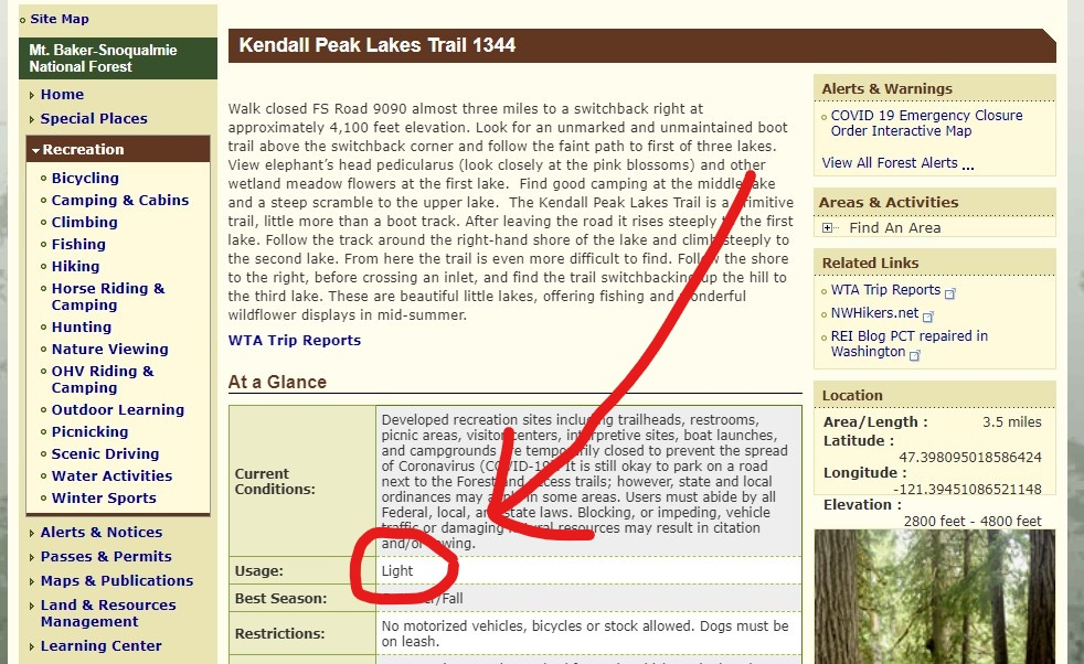 """A screenshot of a forest service website with a red circle and arrow pointing to the section of the trail entry which reads """"light usage"""""""