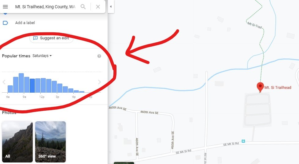 A screenshot of google maps showing the most popular times at the Mt Si Trailhead. This is a helpful tool to look for less crowded times on popular hikes.