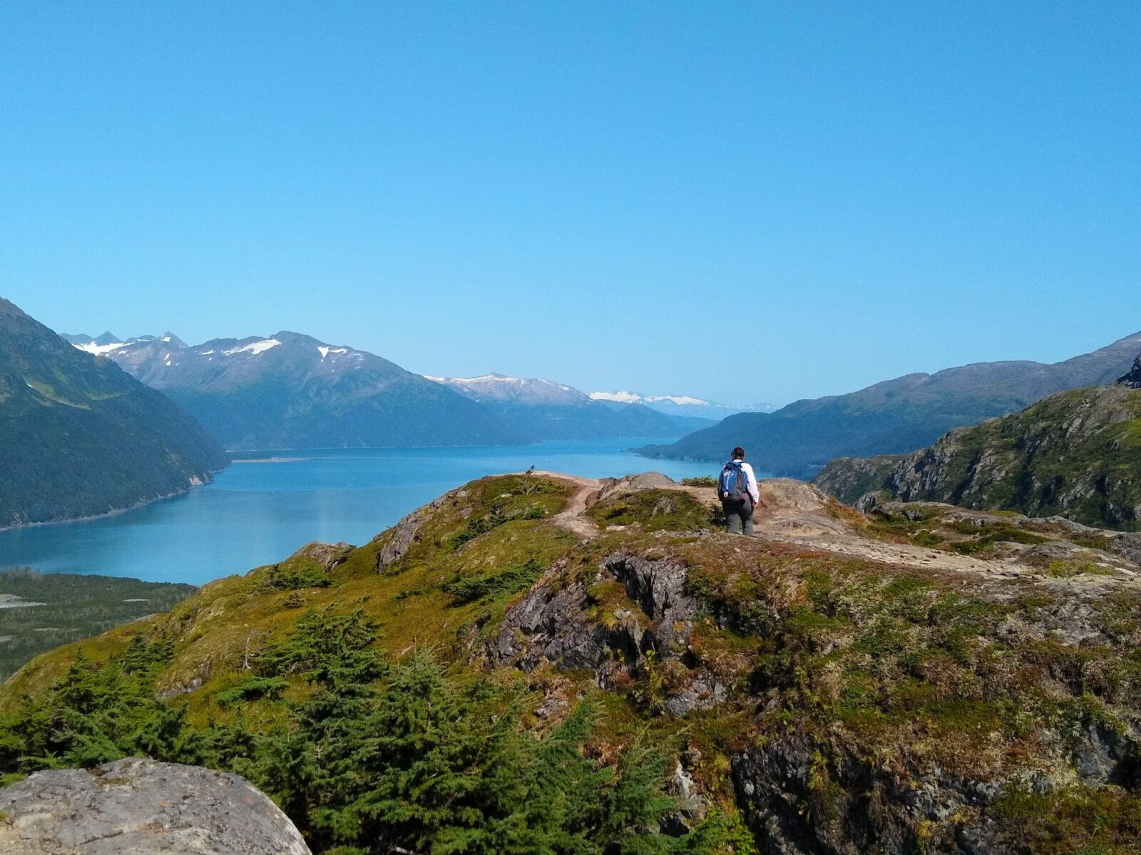 A hiker stands on a ridge above a fjord and distant mountains on a sunny day