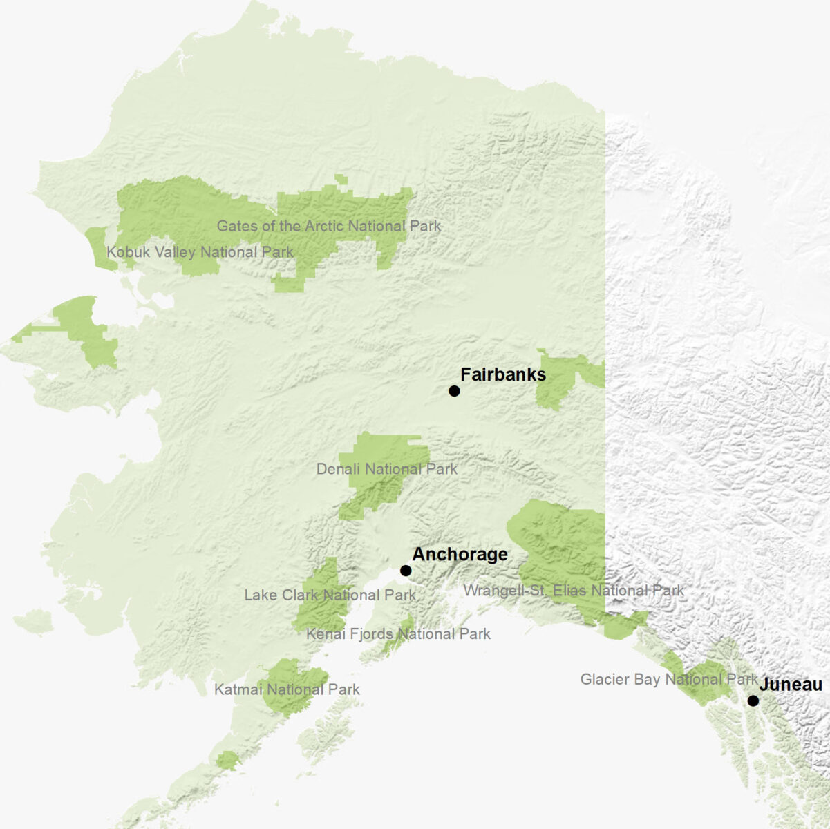 A map of the state of Alaska showing the National Parks and major cities