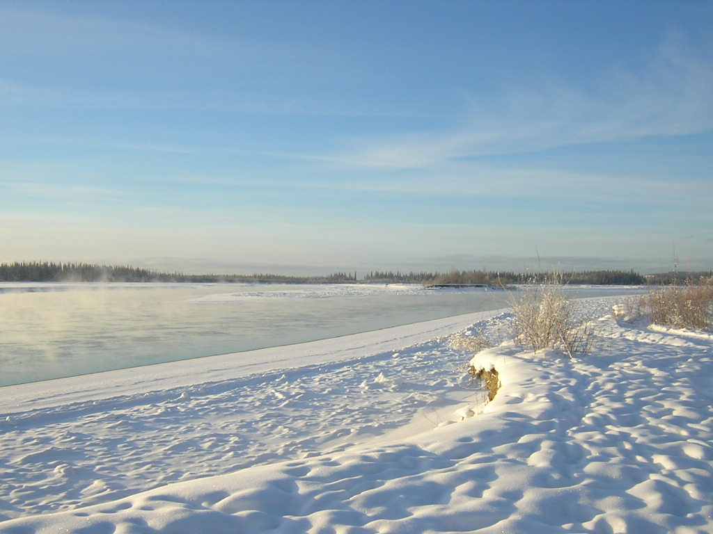 A frozen river in Alaska in winter. There are forests across the river in the distance and a snowy shore in the foreground.