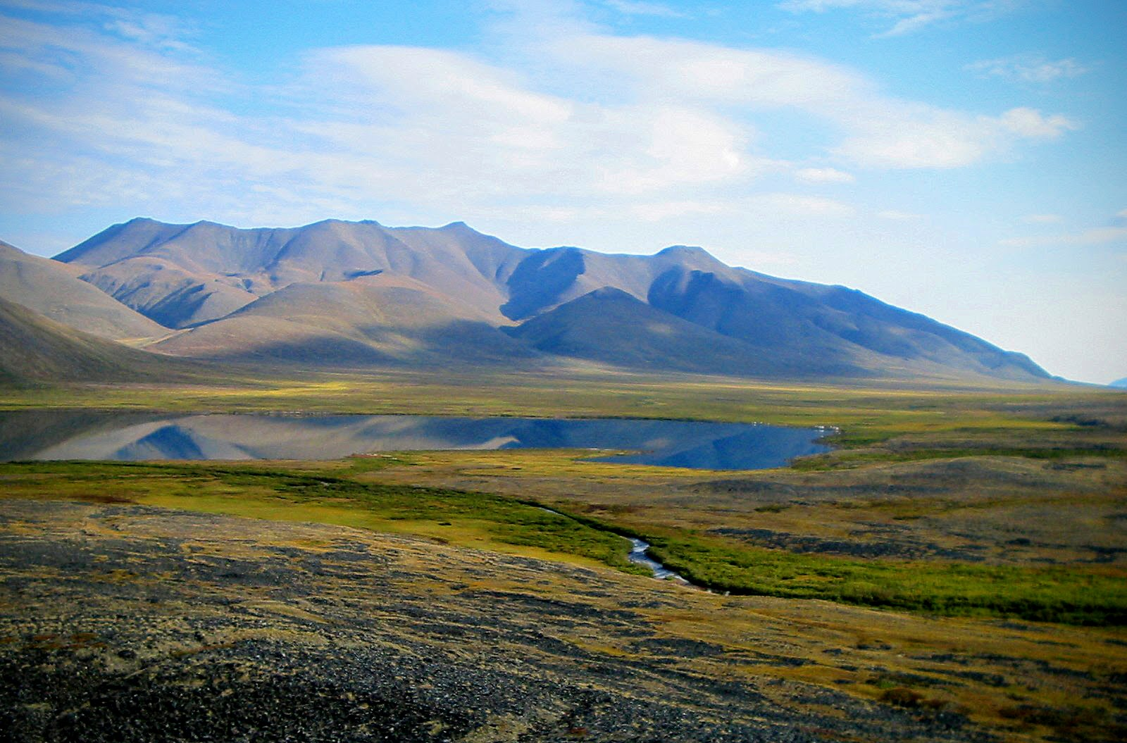 A small, smooth lake reflects brown mountains and green bushes far above the arctic circle in Gates of the Arctic National Park in Alaska.