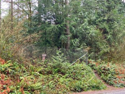 The trailhead for Middle Tiger Mountain, a hike near Issaquah. The trail goes around a fence with a small brown sign marking the trail in the forest