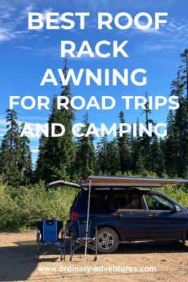 A blue suv with a roof rack awning and the hatch open on a sunny day in the forest. Text reads: best roof rack awning for road trips and camping