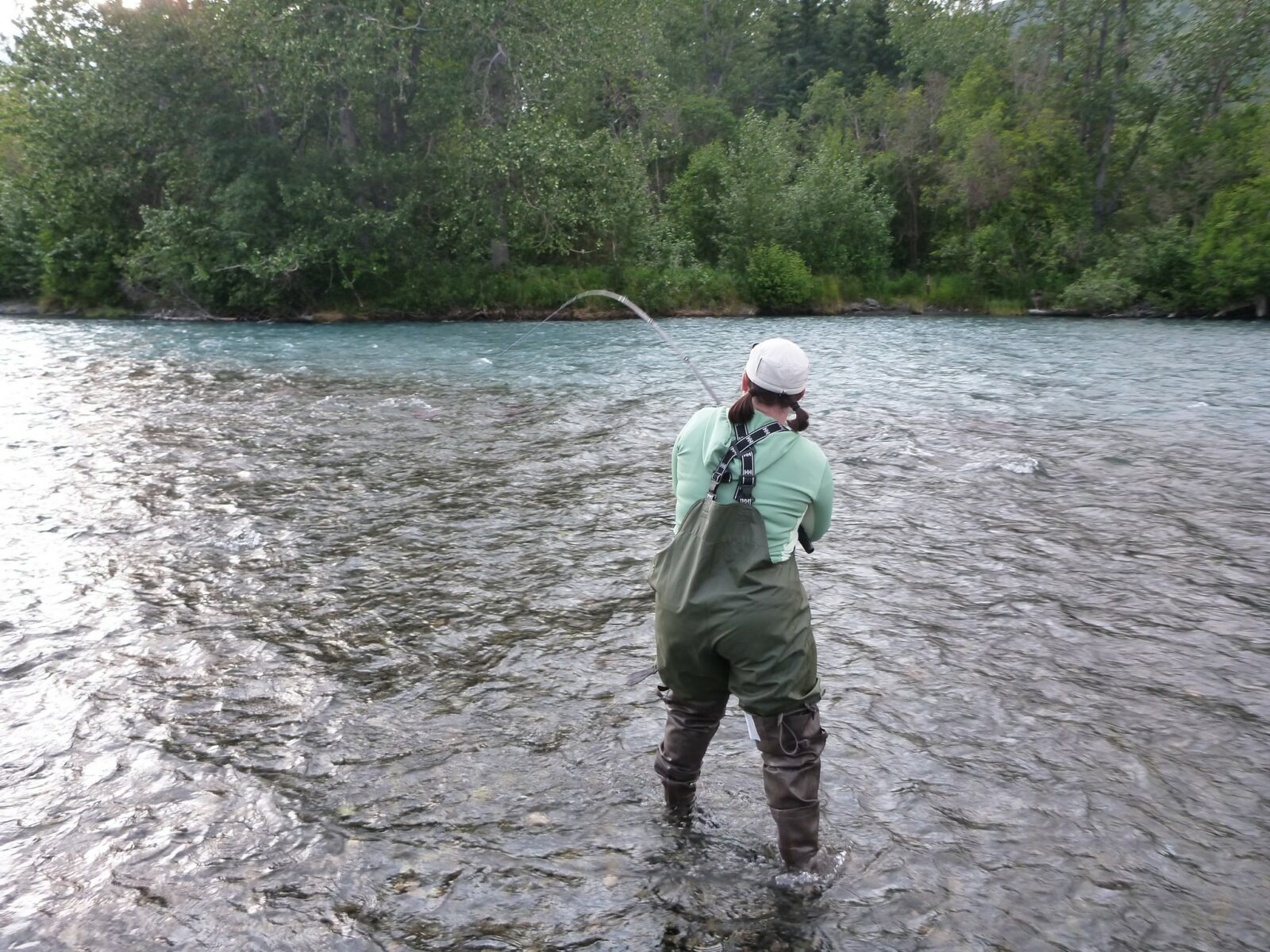 A woman wearing hip waders and a hat is fishing for salmon in the Russian River in Alaska. The river is surrounded by forest